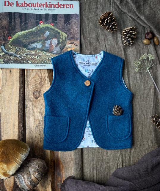 Wool vest Petrol Little Forest 110/116