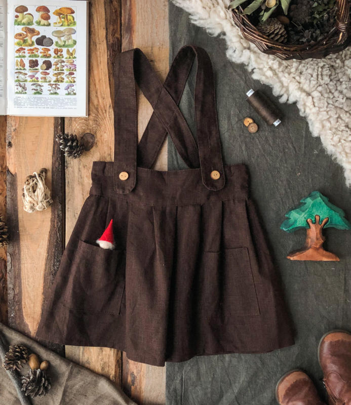 Apron Dress Linen Coffee Brown