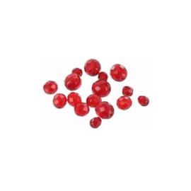 glazen facet geslepen kralen rood 6 mm