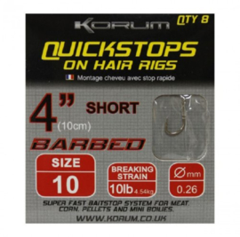 Korum Quickstops on Hair Rigs (Short - 10 cm)
