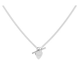 RVS (stainless steel) ketting, hart-sluiting. Zilverkleurig.