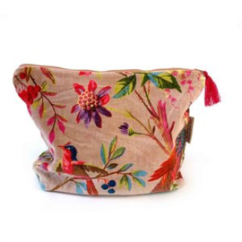 Mooie fluwelen clutch / toilettas van Imbarro. Vogel / bloemenprint. Oudroze