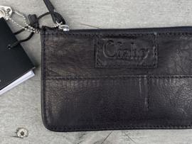 """Chabo mini portemonnee, écht leer. """"Coin-wallet"""" Black - zwart"""