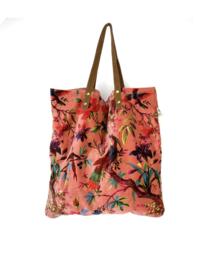 Mooie fluwelen shopper van Imbarro.  Paradise print.  Koraal