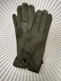 Handschoenen, stretch suedine.  Army green..