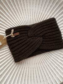 Knit Factory, gebreide haarband. Donkerbruin