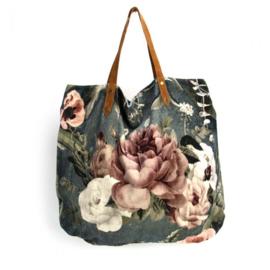 Mooie fluwelen XL shopper van Imbarro.  bloem print.  Grijs-blauw