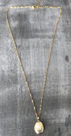 RVS (stainless steel) ketting. Bewerkt Medaillon. Goudkleurig