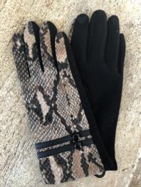 Handschoenen, Bruin-Zwart / Zwart,  snake.