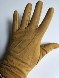 Handschoenen, stretch suedine.  Okergeel.