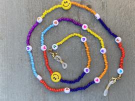 Zonnebril koord, gekleurde kraaltjes. Multi Colour met 2 smiley kralen.