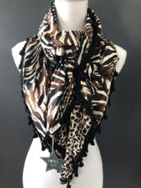 Totally animal bruin-ecru-zwart. Couture sjaal.