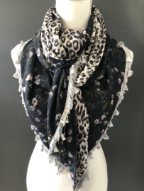 Navy mille fleurs  / shiny panter print lichtgrijs-lila achtig. Couture sjaal.