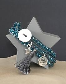 Wikkel armband kraaltjes-waxkoord. Grijs-blauwe kraal.