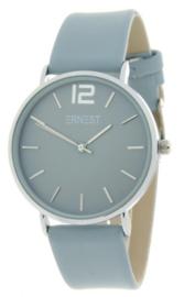 Horloge Ernest,  stijlvol. Gladde band. Jeans blauw - zilver.