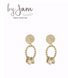 By Jam, RVS oorbellen (stainless steel), goudkleurig. 3 mini ringetjes aan ovaal.