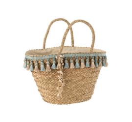 Strandtassen (van riet en van stof) / shoppers