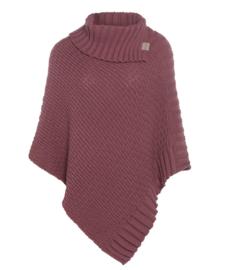 Poncho Nicky van het mooie merk Knit Factory. Stone red