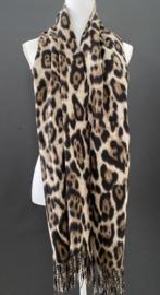 Langwerpige super soft sjaal . Luipaard print. Bruin