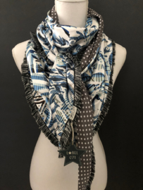 Fancy blue satin / Grijs - witte stip, couture sjaal.