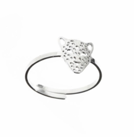 "Stainless steel (RvS) ring. 'Panter/leopard"" Zilverkleurig."