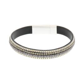 BIBA armband van Pu met kraaltjes. Donkergrijs-goud combi. Zilverkleurige sluiting