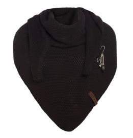 Sjaal/omslagdoek Coco van het mooie merk Knit Factory. Donkerbruin