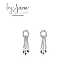 By Jam, RVS oorbellen (stainless steel), zilverkleurig. 3 ovale ringen met zwarte kraaltjes.