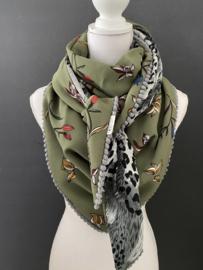 Mooi licht army groen bloemenpaatroon / grijze animal print,  couture sjaal.