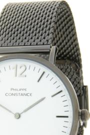 Horloge Philippe Constance,  Donker metaal (gun metal) RVS band! Witte plaat.