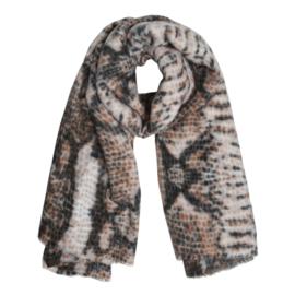 Langwerpige super soft sjaal .  Snake, Bruin tinten.