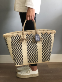 Strandtas - mand / kleine shopper. Mars & More. Naturel - zwart.