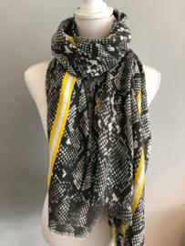 Grote langwerpige sjaal. Snake print met strepen. Grijs - Geel