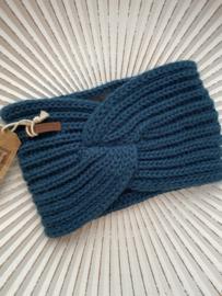 Knit Factory, gebreide haarband. Petrol blauw