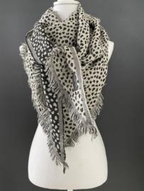 Lichtgewicht cheetah sjaal. 3-hoek vorm. 2 kanten draagbaar. Zand