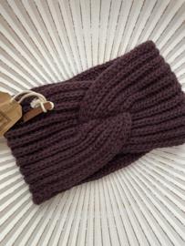 Knit Factory, gebreide haarband. Aubergine
