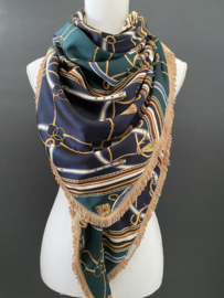 Navy-groen satijn Versace dessin / luipaard print.  Couture sjaal.