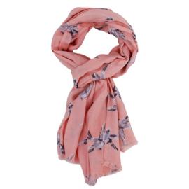Imbarro, grote zachte dunne  langwerpige sjaal / pareo. Vogel print, Roze