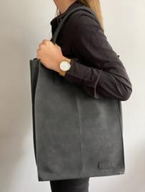 Kartel bag - tas XXL van ZEBRA. Gevoerd + laptop vak. Suède touch, Zwart