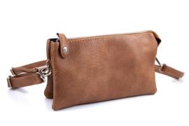 Clutch / kleine tas New York + heupband. met drukknoop. Camel (cognac bruin)