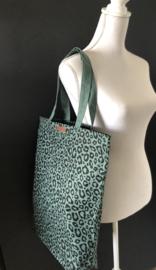 Super leuke katoenen Shopper.  Groen + luipaard / panter print.