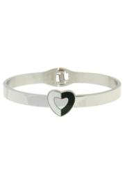 RVS (stainless steel) armband met twee kleurig hart. Zilverkleur.
