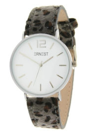 Horloge Hairy Leopard print  band. Grijs  -  zilverkleurig.
