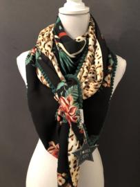 Strepen - bloemen / panterprint. Couture sjaal.