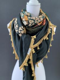 Groen - okergeel -  bruin dieren dessin,  Couture sjaal.