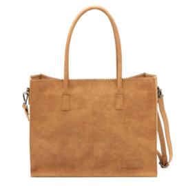 Kartel bag - tas van ZEBRA. Horizontaal model. Suedine.  Cognac bruin