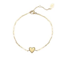 Stainless steel armbandje goud hart.