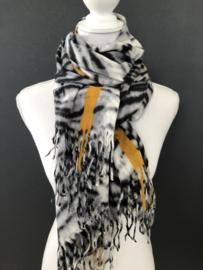 Langwerpige super soft sjaal, Zebra dessin. Grijs - zwart. Okergele strepen.