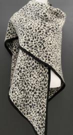Omslagdoek luipaard / panter wol - grijstinten. Zwart band.