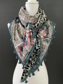 Prince de galle ruit met pastel bloemen / grijze panter print, couture sjaal.